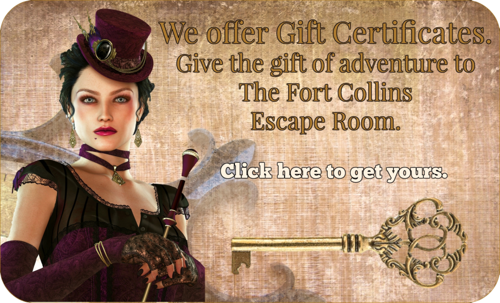 Gift card, Fort Collins Escape room game, Denver,